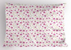 Pembe Çiçekli Yastık Kılıfı Romantik Çeyizlik Trend