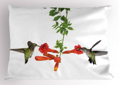 Kırmızı Çiçek ve Kuş Yastık Kılıfı Çeyizlik