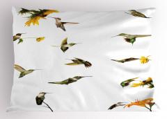 Kuş ve Çiçek Desenli Yastık Kılıfı Yeşil Sarı Çeyizlik