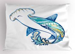 Köpek Balığı Desenli Yastık Kılıfı Mavi Deniz Temalı
