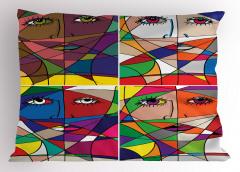 Kadın Yüzü Temalı Yastık Kılıfı Rengarenk Sanat Eseri