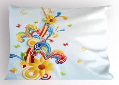 Rengarenk Çiçek Desenli Yastık Kılıfı Çeyizlik Trend