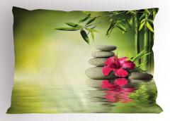 Sağlık Temalı Yastık Kılıfı Masaj Bambu Kırmızı Çiçek