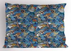 Rengarenk Marin Desenli Yastık Kılıfı Şık Balık Deniz