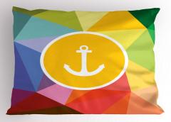 Rengarenk Çapa Desenli Yastık Kılıfı Deniz Temalı