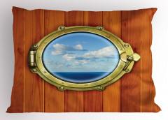 Gemi Desenli Yastık Kılıfı Ahşap Arka Plan Şık Tasarım