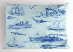 Antik Denizcilik Temalı Yastık Kılıfı Balık Gemi Çapa
