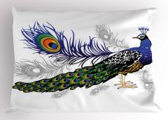 Tavus Kuşu Desenli Yastık Kılıfı Beyaz Fon Şık Tasarım