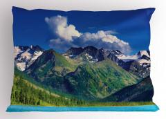 Göl ve Karlı Dağ Temalı Yastık Kılıfı Huzur Verici