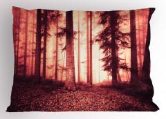Orman Dökülmüş Yaprak Yastık Kılıfı Kırmızı