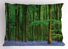 Orman ve Çiçekler Yastık Kılıfı Yeşil ve Mavi
