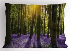 Güneş Orman ve Çiçek Yastık Kılıfı Yeşil ve Mor