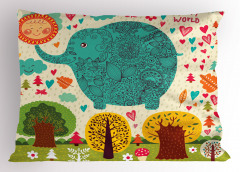 Rengarenk Fil ve Ağaç Yastık Kılıfı Çocuklara