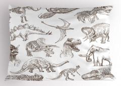 Kara Kalem Dinozorlar Yastık Kılıfı Beyaz Fonlu
