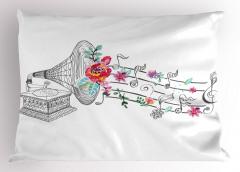 Gramofon Çiçek ve Nota Yastık Kılıfı Beyaz
