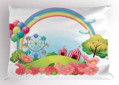 Gökkuşağı Balon ve Sirk Yastık Kılıfı Çocuk