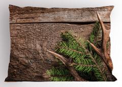 Çam Ağacı ve Boynuz Yastık Kılıfı Ahşap Fonlu