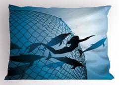 Yüzen Deniz Kızı Temalı Yastık Kılıfı Yunuslar Mavi