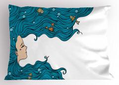 Mavi Saçlı Deniz Kızı Yastık Kılıfı Balık