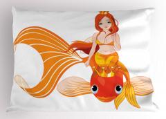 Çizgi Film Yastık Kılıfı Deniz Kızı Temalı Balık