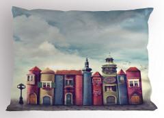 Sihirli Şehir Temalı Yastık Kılıfı Rengarenk