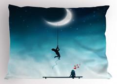 Aşk Temalı Yastık Kılıfı Ay Gece Romantik Mavi