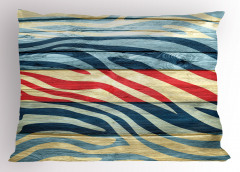 Rengarenk Zebra Desenli Yastık Kılıfı Ahşap