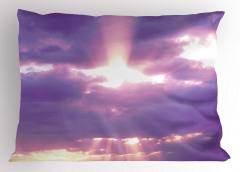 Mor Bulutlar Temalı Yastık Kılıfı Gökyüzü Güneş