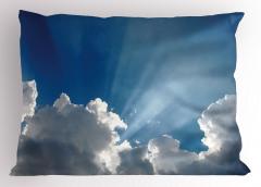 Gökyüzü Temalı Yastık Kılıfı Mavi Bulut Güneş