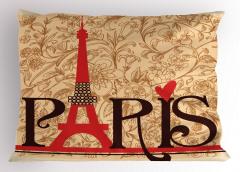 Paris Temalı Yastık Kılıfı Nostaljik Şık Tasarım