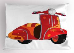 Hippi Temalı Yastık Kılıfı Kırmızı Çiçek Motor
