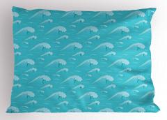Okyanus Dalgaları Yastık Kılıfı Mavi Şık