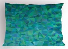 Üçgen Mozaik Desenli Yastık Kılıfı Turuncu Yeşil