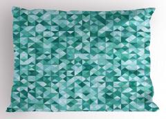 Mozaik Desenli Yastık Kılıfı Üçgen Yeşil Şık