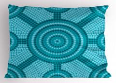 Mavi Mozaik Desenli Yastık Kılıfı Yuvarlak Şık