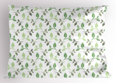 Yeşil Yaprak Desenli Yastık Kılıfı Çeyizlik Şık