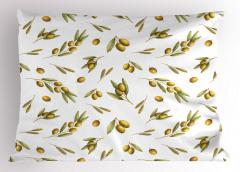 Zeytin Desenli Yastık Kılıfı Yeşil Şık Tasarım