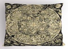 Antik Harita Desenli Yastık Kılıfı Nostaljik