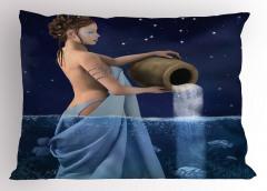 Kova Burcu Temalı Yastık Kılıfı Mavi Sembol