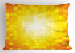 Kare Temalı Yastık Kılıfı Sarı Turuncu Geometrik