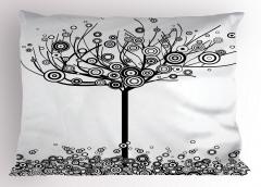 Siyah Beyaz Ağaç Yastık Kılıfı Yuvarlak