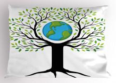 Toprak Ana Temalı Yastık Kılıfı Yeşil Ağaç Dünya