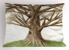 Ağaç Temalı Yastık Kılıfı Yeşil Kahverengi Doğa