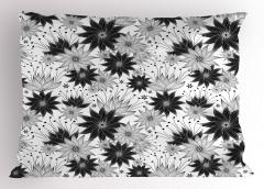 Çiçek Desenli Yastık Kılıfı Siyah Beyaz Çeyizlik