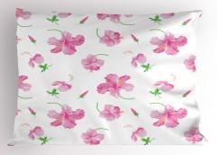 Pembe Çiçek Desenli Yastık Kılıfı Şık Tasarım