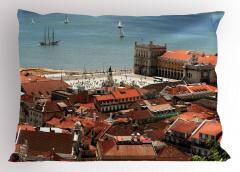 Nostaljik Şehir Manzara Yastık Kılıfı Antik