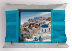 Antik Yunan Mimarisi Yastık Kılıfı Mavi