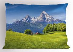 Karlı Dağ ve Orman Yastık Kılıfı Orman Dağ Yeşil