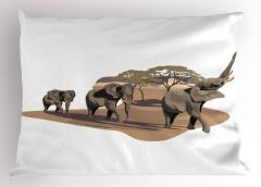 Fil ve Ağaç Desenli Yastık Kılıfı Safari Etkili