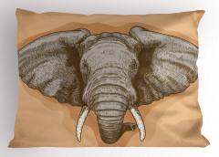 Fil Gravürü Desenli Yastık Kılıfı Kahverengi